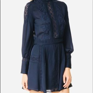 Haute Hippie LongSleeve Silk Victorian Mini Dress